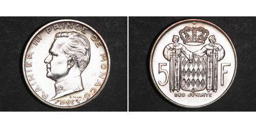 5 Franc Principato di Monaco Argento Ranieri III di Monaco