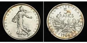 5 Franc Quinta Repubblica francese (1958 - ) / Francia Argento