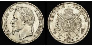 5 Franc Secondo Impero francese (1852-1870) Argento Napoleone III (1808-1873)