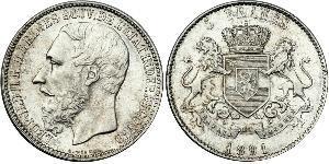 5 Franc Stato Libero del Congo (1885 - 1908) Argento Leopold II (1835 - 1909)