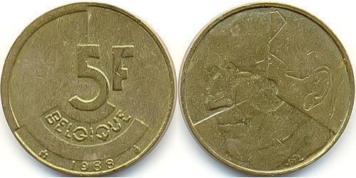 5 Franc Belgium Brass