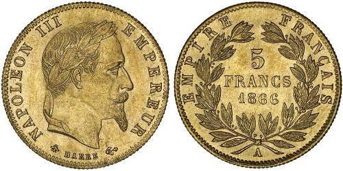 5 Franc Second French Empire (1852-1870) Gold Napoleon III (1808-1873)