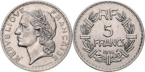 5 Franc Tercera República Francesa (1870-1940)  Níquel