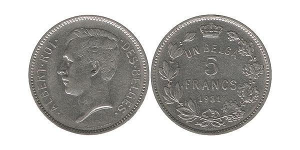 5 Franc Belgio Nichel Alberto I del Belgio