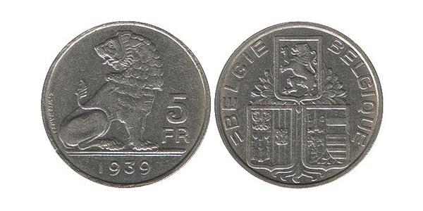 5 Franc Belgio Nichel
