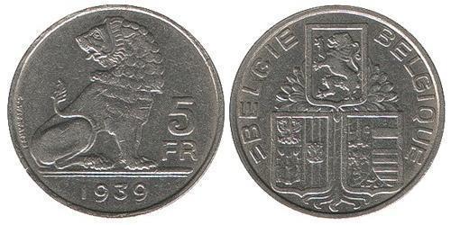 5 Franc Belgium Nickel