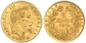 5 Franc Secondo Impero francese (1852-1870) Oro Napoleone III (1808-1873)