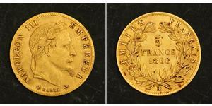 5 Franc Segundo Imperio francés (1852-1870) Oro Napoleon III (1808-1873)