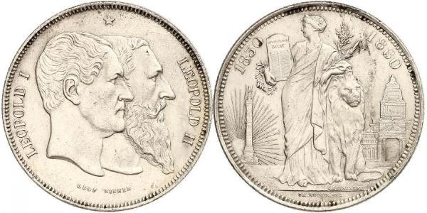 5 Franc Bélgica Plata Leopold II (1835 - 1909) / Leopoldo I de Bélgica (1790-1865)