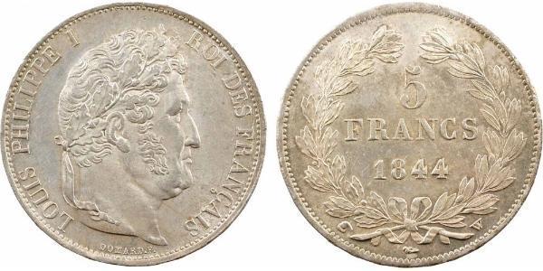 5 Franc Francia / Monarquía de Julio (1830-1848) Plata Luis Felipe I de Francia  (1773 -1850)