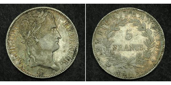 5 Franc Primer Imperio francés (1804-1814) Plata Napoleón Bonaparte(1769 - 1821)