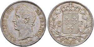 5 Franc Reino de Francia (1815-1830) Plata Carlos X de Francia (1757-1836)