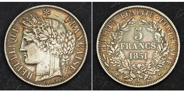 5 Franc Segunda República Francesa (1848-1852) Plata