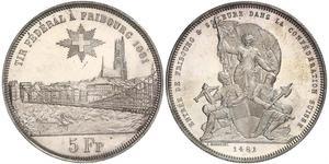 5 Franc Suiza Plata