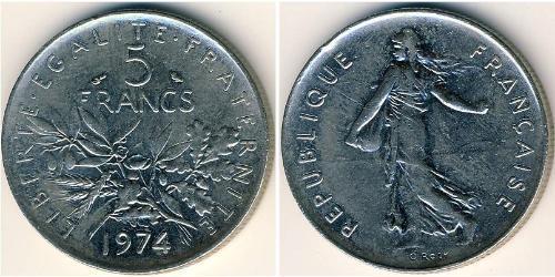 5 Franc Quinta Repubblica francese (1958 - ) Rame/Nichel