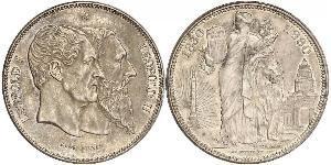 5 Franc Belgien Silber Leopold II (1835 - 1909) / Leopold I. (Belgien) (1790-1865)