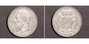 5 Franc Belgien Silber Leopold II (1835 - 1909)