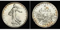 5 Franc Fünfte Französische Republik (1958 - ) / Frankreich Silber