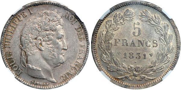 5 Franc Julimonarchie (1830-1848) / Frankreich Silber Louis-Philippe I (1773 -1850)