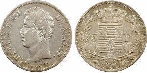 5 Franc Kingdom of France (1815-1830) Silber Karl X. von Frankreich (1757-1836)