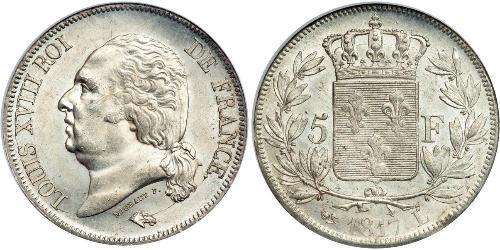 5 Franc Kingdom of France (1815-1830) Silber