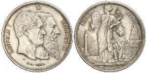 5 Franc Belgium Silver Leopold II of Belgium(1835 - 1909) / Leopold I of Belgium (1790-1865)
