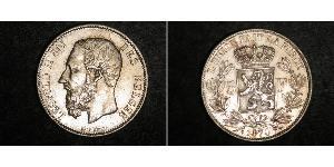 5 Franc Belgium Silver Leopold II of Belgium(1835 - 1909)