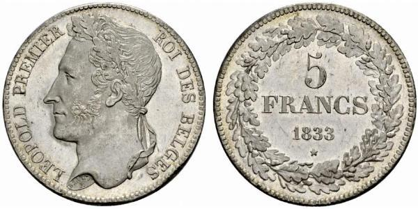5 Franc Belgium Silver Leopold I of Belgium (1790-1865)