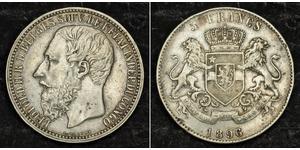 5 Franc Congo Free State (1885 - 1908) Silver Leopold II of Belgium(1835 - 1909)