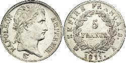 5 Franc First French Empire (1804-1814) Silver Napoleon (1769 - 1821)