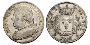 5 Franc Kingdom of France (1815-1830) Silver Louis XVIII of France (1755-1824)