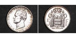 5 Franc Monaco Silver Rainier III, Prince of Monaco