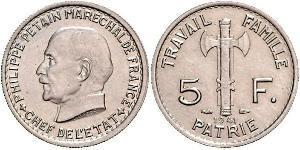 5 Franc 維希法國 (1940 - 1944)  菲利普·贝当