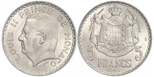 5 Franc Mónaco  Luis II de Mónaco (1870-1949)