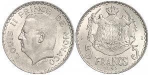 5 Franc Monaco  Louis II Prince of Monaco (1870-1949)