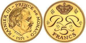 5 Franc Principato di Monaco  Ranieri III di Monaco