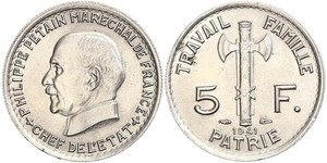 5 Franc Vichy France (1940-1944)  Philippe Pétain