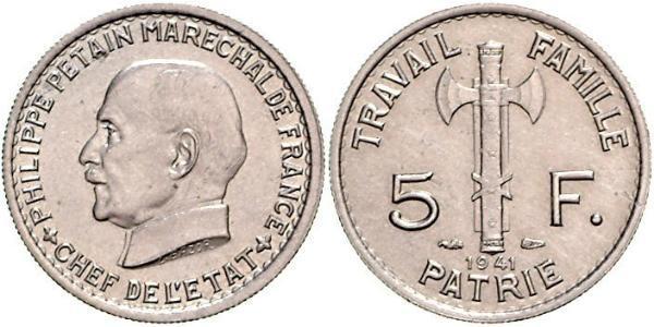 5 Franc Vichy France (1940-1944)  Philippe Pétain