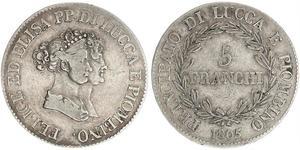 5 Franchi / 5 Franc Italian city-states 銀