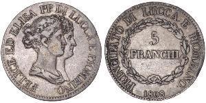 5 Franchi / 5 Franc Italian city-states Plata