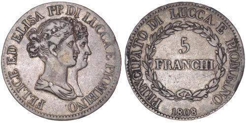 5 Franchi / 5 Franc Italian city-states Silber