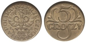5 Grosh Segunda República Polaca (1918 - 1939) Cobre Abdullah II of Jordan (1962 - )