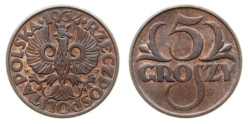 5 Grosh Second Polish Republic (1918 - 1939) Copper Abdullah II of Jordan (1962 - )