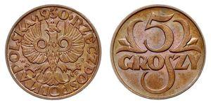 5 Grosh Deuxième République de Pologne (1918 - 1939) Cuivre Abdullah II of Jordan (1962 - )