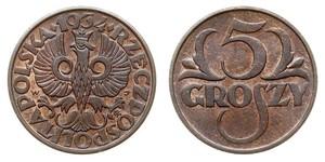 5 Grosh Seconda Repubblica Polacca (1918 - 1939) Rame Abdullah II of Jordan (1962 - )