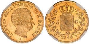 5 Gulden 巴登大公國 (1806 - 1918) 金 路德维希一世 (巴登)