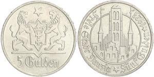 5 Gulden 但澤自由市 (1920 - 1939) 銀