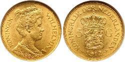 5 Gulden Königreich der Niederlande (1815 - ) Gold Wilhelmina (Niederlande)(1880 - 1962)