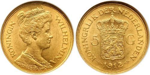 5 Gulden Royaume des Pays-Bas (1815 - ) Or Wilhelmine (reine des Pays-Bas)(1880 - 1962)