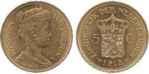 5 Gulden Regno dei Paesi Bassi (1815 - ) Oro Guglielmina dei Paesi Bassi(1880 - 1962)